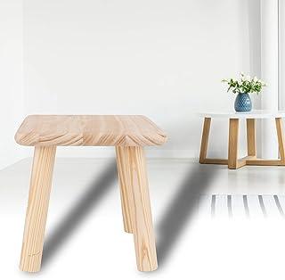 Rund pall, grunder Klassisk furu sadelbänkpall, liten pall hushålls massivt trä låg pall, med halkfri matta, skrivbordstol...