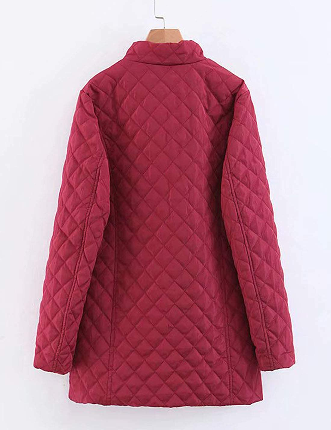 Flygo Women's Stand Collar Mid-Long Fleece Sherpa Lined Diamond Quilted Jacket