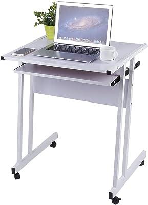 Hjh OFFICE 673961 Escritorio SMART nogal plateado mesa pequeña con ...
