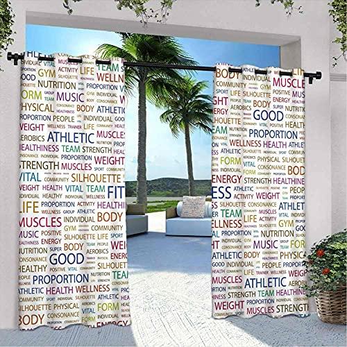 Gimnasia - Cortinas para patio al aire libre, diseño de estilo de vida, palabras de salubridad, bienestar, salud, adecuado para pabellones de terraza al aire libre, 120 x 84 pulgadas, multicolor