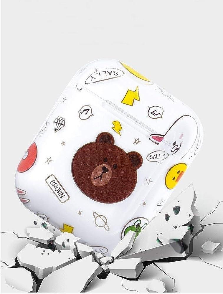 神社完全に同盟HKXR HJAZ AirPods充電完全保護プレミアム透明ハードシェル、ファッション、セサミストリート、ヒグマスタイル、ワイヤレスBluetoothヘッドセット、漫画スタイル、創造的なかわいい、子供時代の記憶。 (Color : Brown bear)