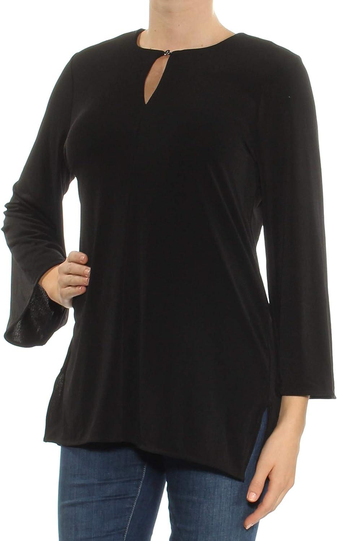 Ralph Lauren Womens Black Bell Sleeve Keyhole Tunic Top US Size  M