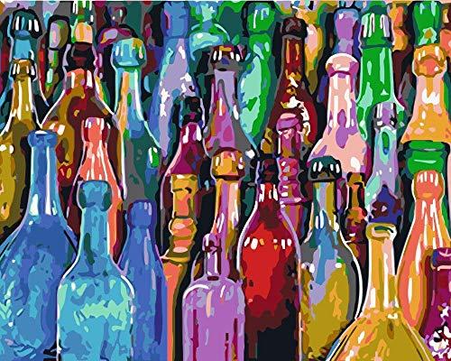 ANpygh DIY Pintar por Numeros Kits DIY Pintura al óleo Kit para Adultos Niños Principiantes con Pinceles y Pinturas_Bodegón con Botellas de Colores(40x50cm) Sin Marco