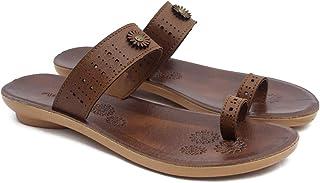 ASIAN Women's Ladies Kohlapuri Chappal for Women's Flat Heels Slippers for Women's | Laser-255 Girl's Tan Shoes for Women's Walking Synthetic Slipper (UK-7)