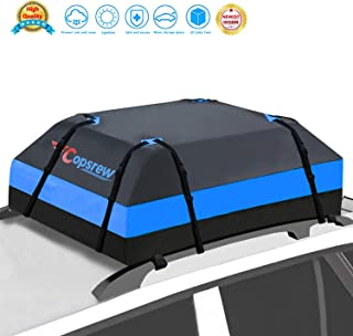 Copsrew 20 Cubic ft Car Roof Bag Top Carrier Cargo Storage Rooftop Luggage Waterproof Soft Box Luggage Outdoor Water Resistant for Car with Racks,Travel Touring,Cars,Vans, Suvs