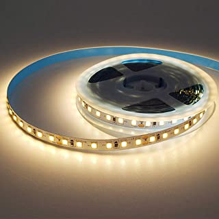 Warm White LED strip lights, 16.4ft/5M 12V Flexible LED Tape Light, 3000K, 300 LEDs, Non-waterproof, with Power Adapter fo...