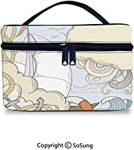 Anchor Cute Cosmetic Bag Retro Sailor with Boat and Sea Elements Gulls Exotic Adventure Cruising ThemePortable Artist Storage Bag,9.8x7.1x5.9inch,Light Blue Cream