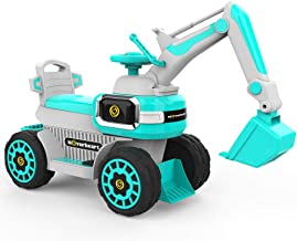 HOVER HEART Excavator Ride-On Toy 6V/4.5Ah Front LED Construction Truck 4 Wheels Pulling Cart for Kids