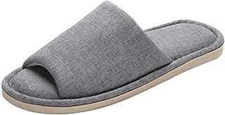 FEET FEEL Men's Cowboy Canvas Slip-on Slippers Non-Slip Sandal Moisture Wicking House Slippers