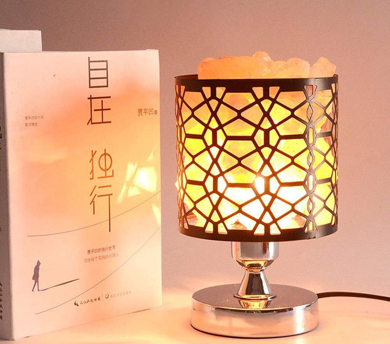 Tiners Warme und kreative Tischsalzlampe Himalaya-Schmiedeeisen-Hohle Tischlampe