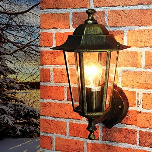 Lámpara de pared nostálgica para exterior PARÍS en Oro Antiguo IP44 E27 Lámpara de pared rústica Casa fuera del jardín