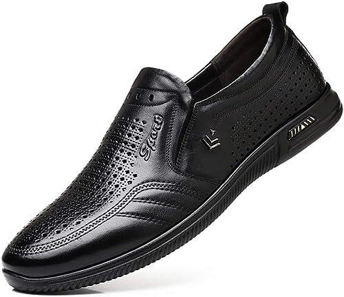 Sandalias Planas Hollow Moda Mocasines de conducción for los hombres Conjunto de Color sólido Pies TransPiñable Antideslizante Suave Fondo Ligero Tendencia Business Hole zapatos .Zapaños de Moda