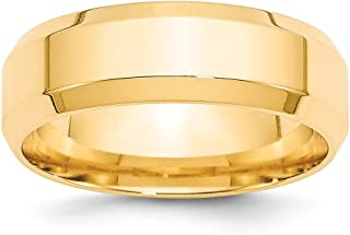 14K Yellow Gold Wedding Band Ring Beveled Comfort Polished 7 mm 7mm Bevel Edge Comfort Fit B