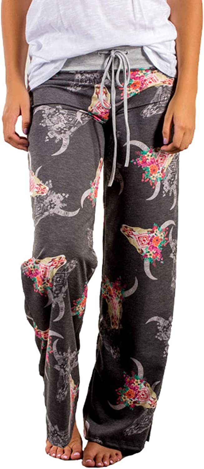 Women's Printed Wide-Leg Pants Comfy Stretch Floral Print Drawstring Lounge Trousers Casual Stretchy Casualpants (3X-Large,Dark Gray 2)