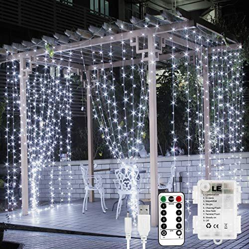 LE 3x3 m 300 LED Cortina luces LED, USB o PILAS, 8 modos de Luz, Blanco Frío Intensidad Regulable, Cadena Luces Temporizador, Impermeable, Luces de Hadas Decoración de Fiestas, Navidad, Balcón.