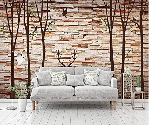Design Wallpaper 3D Wallpaper Mural Stone Wall Forest Elk Stone Wall for Living Room Bedroom Wall Decor Murals Wall Pape Custom 3D Wallpaper Paste Living Room The Wall for Bedroom Mural-150cm×105cm