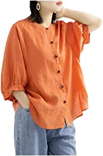 Comaba Womens Puff Sleeve Blouse Baggy Top Retro Style Oversized Tees Shirt