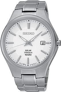 Seiko Solar White Dial Titanium Mens Watch SNE375