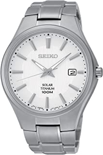Seiko Solar White Dial Titanium Mens Watch SNE375