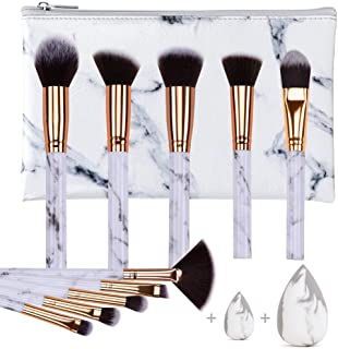 HEYMKGO Makeup Brushes Professional Marble Makeup Brush Set, Soft and Odor-free Natural Synthetic Bristles,10PCS + 2 Sponge Puff + Marble Pattern Cosmetics Bag