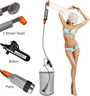 LUOOV [Upgraded] Portable Camping Shower,Compact Shower Pump with USB Rechargeable..