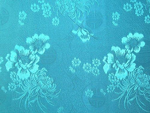 Minerva Crafts Orientalischer Brokat-Kleiderstoff, florales Muster, Türkis, Meterware