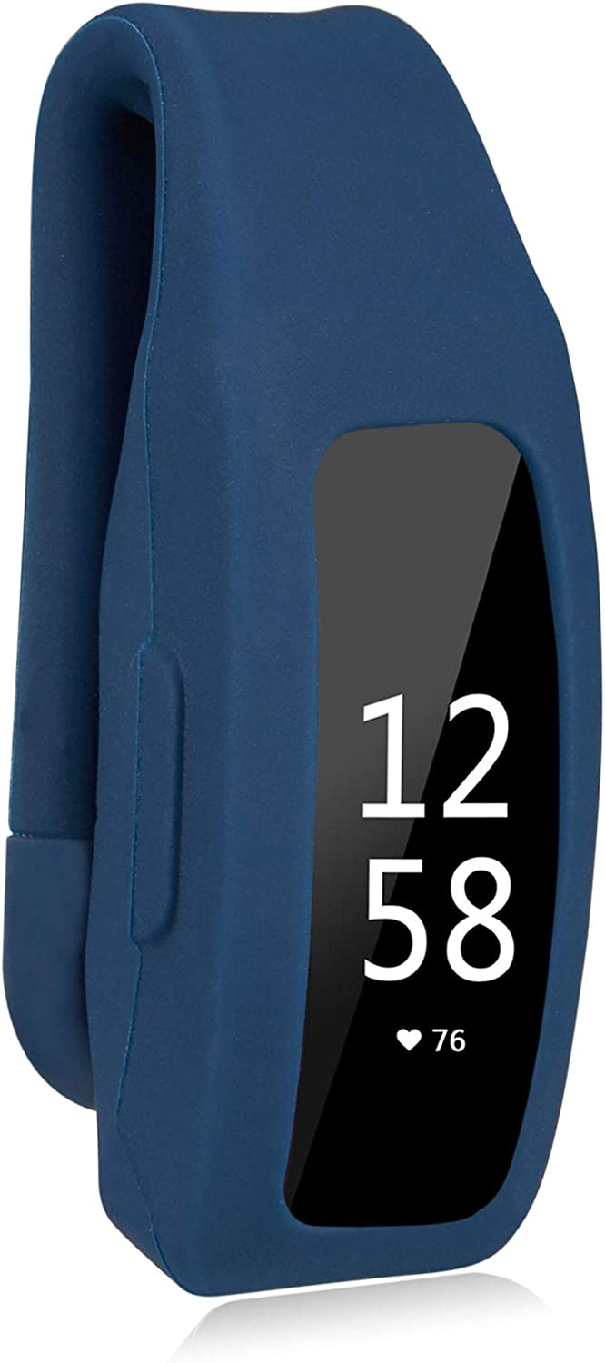 TOMALL Clip Holder Compatible with Fitbit Inspire/Inspire HR, Silicone Sport Pocket Clip Replacement for Women Men. (Dark Blue)