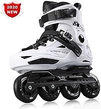 Patines en Línea para Adultos de una Hilera Zapatos Profesionales de Patinaje de Velocidad en Línea Fibra Carbono para Deportes al Aire Libre Fitness para Hombres Patines Ruedaswhite-43