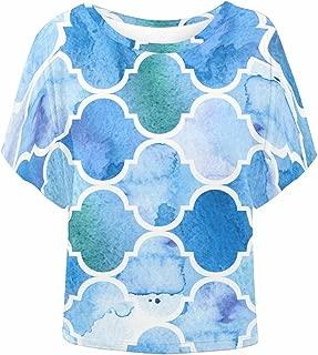 INTERESTPRINT Women O-Neck Batwing Blouse Tops Casual T-Shirt Math Number