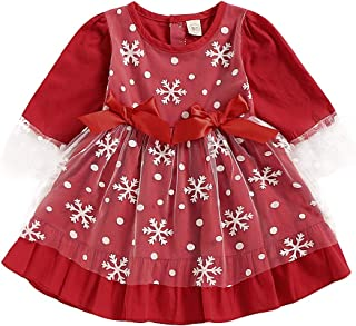 Happy Town Toddler Baby Girl Red Long Sleeve Lace Snowflake Dress Kids Christmas Outfits