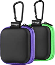 Earbud Case, SUNGUY【2Pack, Green+ Purple】 Portable Square Earphone Carrying Cases with Carabiner Loop for AirPods, Hearing Aids, USB Charging Cord, USB Flash Drive.