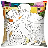 NotApplicable Pillow Cover Barcelona Love Book Store Funda De Cojín Fundas De Almohada Casa De Vacaciones Hospital Hostel Sofá Acogedor Suave Unisex Dos Tamaños 40X40cm