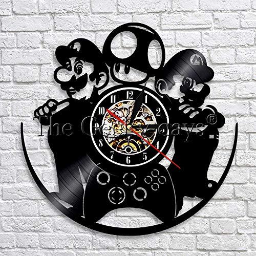 LTOOD 1 stuk Super Mario Game Wandklok Vintage Vinyl Record 3D Muur Horloges Tijd Klokken Creatieve Handgemaakte Cadeau Idee Voor spel Liefhebber