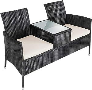 Deuba® Gartenbank Poly Rattan | Tisch inkl. 7cm Auflagen wetterfest | Gartensofa Kinobank Bank Garten Möbel 2 Sitzer