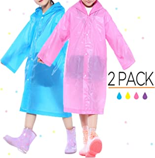 Portable Kids Children Rain Poncho, Reusable Raincoat with Hoods and Sleeves, Durable, Lightweight and Perfect for Outdoor Activities