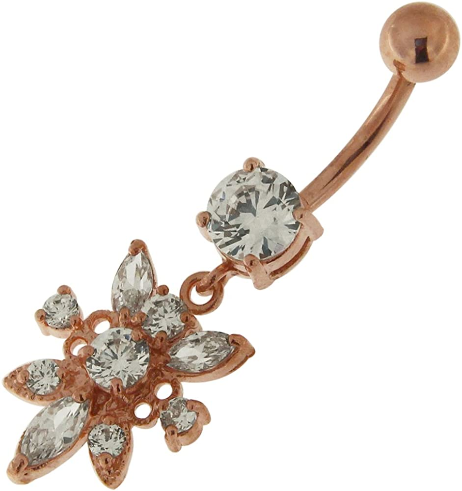 3 Micron 18K Rose Gold Plated Stone Clear Limited time sale Flower Studded CZ Dang Sacramento Mall