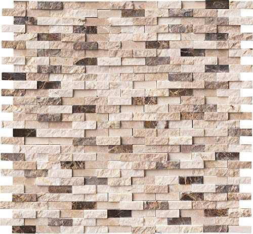 M S International Emperador Blend Marble Split Face Tile for Kitchen Backsplash, Wall Tile for Bathroom, Accent Wall Tile, Shower Wall Tile, 12 in. x 12 in. Mesh-Mounted Mosaic Tile, (10 sq. ft.)