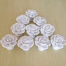 SunKni 41mm 10Pcs Rose Flower Floral Knobs Ceramic Drawer Handles Pulls for Wardrobe Cupboard Dresser Cabinet Closet Kitchen Furniture with Free Screws New Sets Pack of 10 (White)
