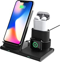 Wireless Charging Station,3 in 1 Fast Charger Phone Stand for iPhone X/XS/XR/XS Max/ 8 Plus,iWatch Charging Dock for 1/2/3/4 Airpod Charger Stand(Not Including Devices and iWatch Cable)