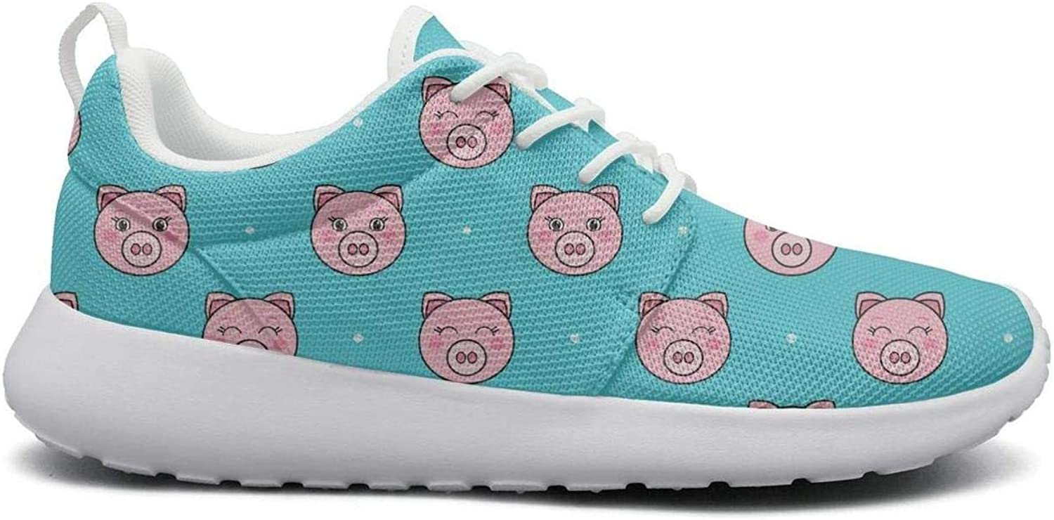 Gjsonmv Pink Cartoon Funny Pigs mesh Lightweight shoes for Women Fashion Sports Hiking Sneakers shoes