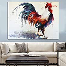 GUDOJK Decorative Paintings HD Print Abstract Rooster Watercolor Oil Painting on Canvas Wall Picture Art Animal Modern Cuadros Decoration for Living Room-60x80cm