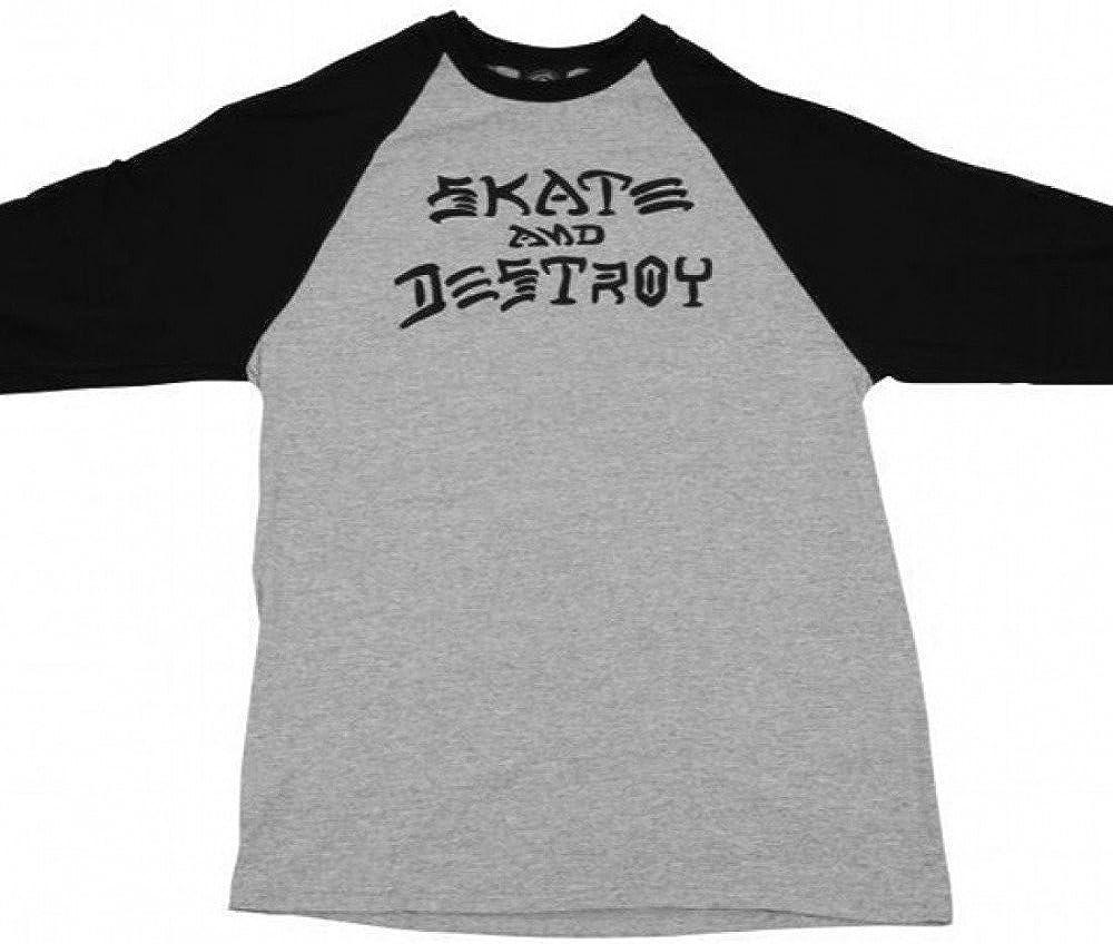 Thrasher Skate And Destroy Raglan 3/4 Sleeve Tee Grey/Black
