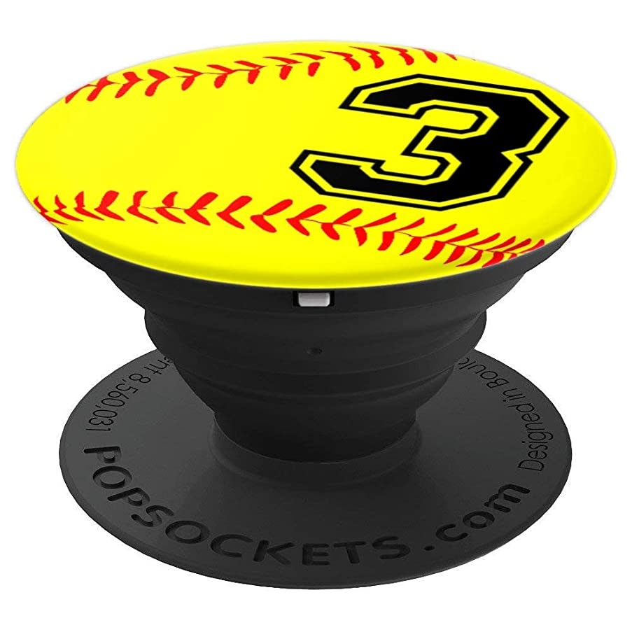 Softball Jersey Number #3 Three No 3 Game Play Fun Uniform - PopSockets Grip and Stand for Phones and Tablets