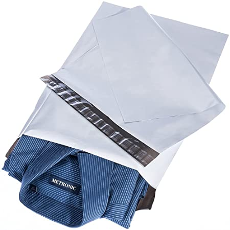 Metronic Poly Mailers 14.5x19 100 Pcs Large Shipping Bags for Clothing Mailing Bags with Strong Self-sealing Adhesive Waterproof and Tear-Proof Postal Bags in White