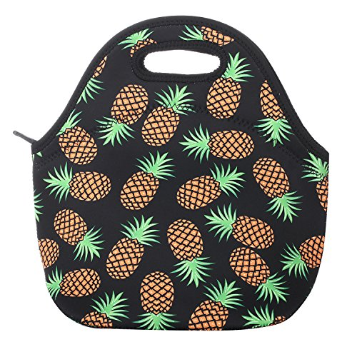 Neoprene Lunch Bag Insulated Lunch Box Tote for Women Men Adult Kids Teens Boys Teenage Girls Toddlers (Pineapple Black)