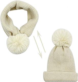 2-in-1 Kids Warm Scarf Cuff Knit Beanie Hat Toddler Boys Girls Pompom Ski Skull Cap Versatile Neck Warmer
