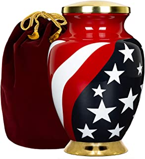 Trupoint Memorials Stars and Stipes Modern Flag Adult Large Urn for Human Ashes - for Veterans, First Responders and Patriots