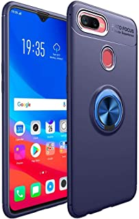 Oppo F9 - smooth Auto Focus TPU case cover with metal ring - blue