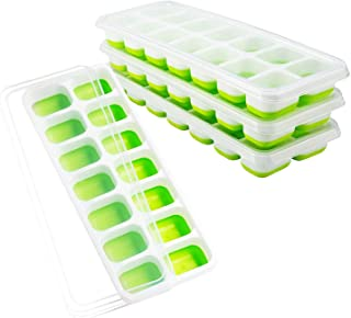 SKEIDO 4 Pack Ice Cube Trays, Easy Release Silicone and Flexible 14-Ice Trays with Spill-Resistant Removable Lid, LFGB Cer...