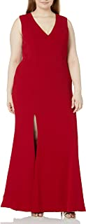 Dress the Population womens Sandra Plunging Thick Strap Solid Gown With Slit Dress Plus Dress